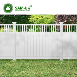 5' x 8' vinyl private fence tongue and groove uneven ground
