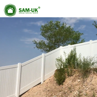 6' x 8' vinyl private fence double gate uneven ground