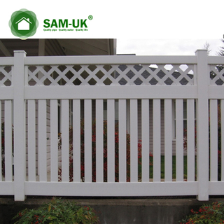 5 foot semi private vinyl fencing with lattice top uneven ground