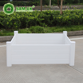 White Rectangular Backyard Vinyl Planter Box