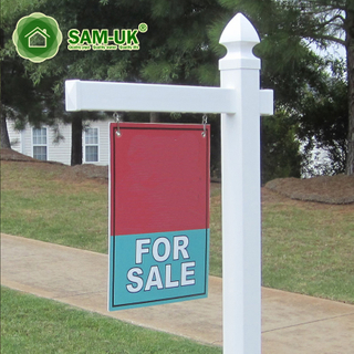 White Porch Distance Vinyl Sign Post